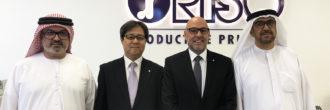Fabrice Sposito et Toshihiko Kawatsu avec les dirigeants de GCG